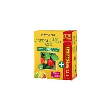 Acérola plus 500 (+ 15 cps offerts) - Vitamine C naturelle Phyto Actif